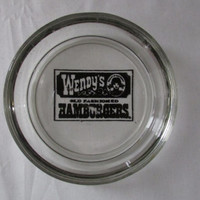 14-1134 Vintage Wendy's Glass Ashtray / Wendy's Hamburgers Ashtray / Collectible Ashtray / Tobacco Collectible / Wendy's / Glass Ashtray