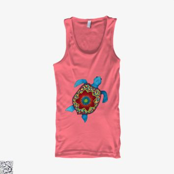 Turtley Awesome Mosaic Watercolor Turtle, Sea Turtles Tank Top