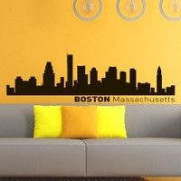 Vinyl Wall Decals Boston Skyline City Silhouette Sticker Home Decor Art Mural Z592