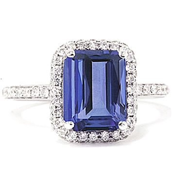 5.49 carat emerald cut tanzanite diamonds solitaire ring with accents gold
