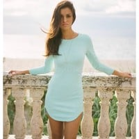 Carley- You're going to love our Carley mint bodycon! Long sleeve te