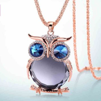 Simple Owl Rhinestone Pendant Long Necklace
