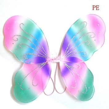 Kids Girl Princess Fairy Butterfly Wings Halloween Party Decor 13 Colors