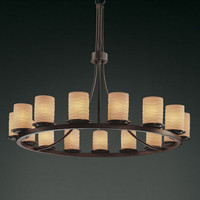 Justice Design Group POR871510WAVEDB Limoges Dakota 15-Light Dark Bronze One-Tier Ring Chandelier
