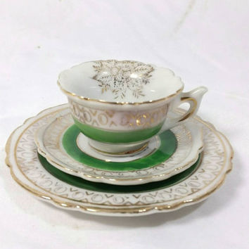 Tiny Miniature Occupied Japan Teacup, Saucer and Plate/Made in Japan Green and Gold Trimmed Miniature Teacup/Vintage Occupied Japan Cup