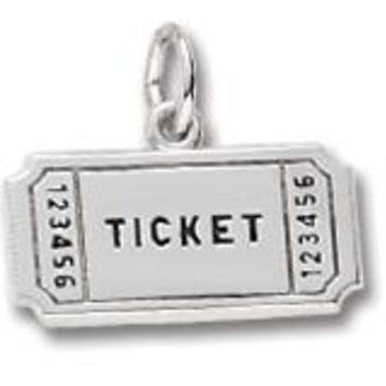 Movie Ticket Charm In 14K White Gold