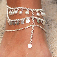 Solid 925 Sterling Pearl and Silver Foot Chain