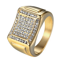 14k Gold Tone Ring Mens Stainless Steel Wedding Engagement Iced Out Pinky New