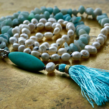 Blue bohemian necklace Long amazonite necklace Long blue tassel necklace Beach boho style Turquoise beaded Summer fashion Long hippie chic