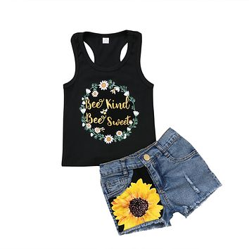 2018 Kids Baby Girl Clothes Outfits Floral Sleeveless T-shirt Tops +Denim Jeans Pants Shorts Sunflower Summer Set