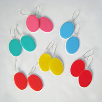 Colorful Earrings choose your color neon pop color glass dome minimal dangle long drop oval surgical steel simple modern teenager summer