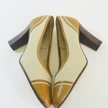 1960s Vintage Spectator Heels, Stacked Heel by Life Stride, Size 7 AA
