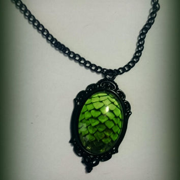 Dragon Scale cameo necklace, 4 colours.