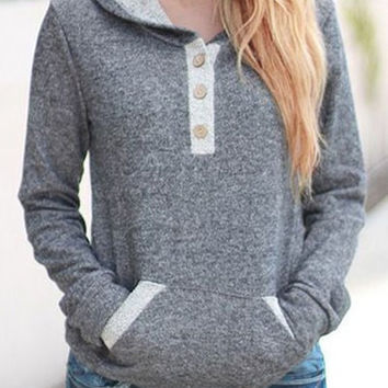 Solid Color Contrast Placket Drawstring Hoodie