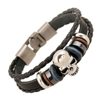 ESBONHC 1 PC 2017 New Product Fashion Jewelry Leather Bracelets Men Casual Personality Alloy Vintage Punk Bracelet