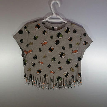 Womens Medium Sushi Fringed Crop Top Seaweed Beaded Graphic Funny Shirt Tumblr Concert Festival Outfit Goa Rave Fashion Bohemian Clothes
