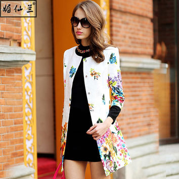 2016 women spring autumn runway vintage floral print dobby medium-long casual maxi trench outerwear 8220