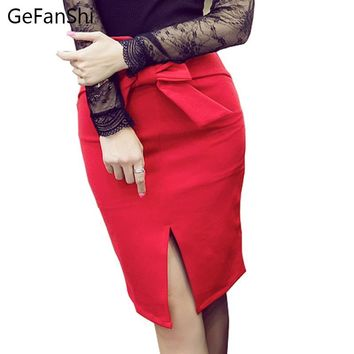 Plus size 2018 new fashion slim women skirt high waist bow spring summer work pencil skirt stretch sexy office lady skirts