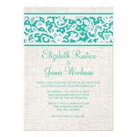 Turquoise Rustic Burlap Linen Wedding Invitations