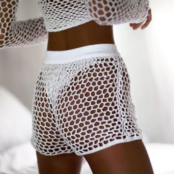 Kalete White hot beach hollow mesh knit weave shorts pants only sale shorts