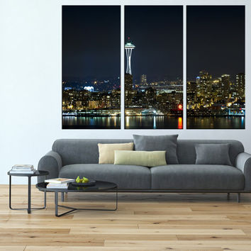Seattle Wall Art washington seattle skyline night canvas from artcanvasshop on