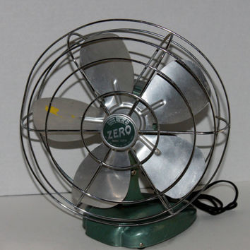 Vintage 1950s Zero Five Blade Osculating Table top Fan, Model #1265R
