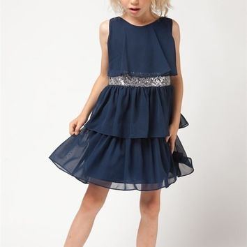 Girls Tiered Chiffon Dress with Sequin Belt