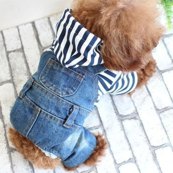 Trendy Cute strip small Dog pet cat Denim Jeans coat  jacket Cool dog Puppy vest hoodie jumpsuit overall clothing pitbull dog clothes AT_94_13