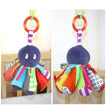 New Infant Toys Baby Animal Rattles Stroller Bed Hanging Cute Octopus Plush Dolls Early Educational Toys