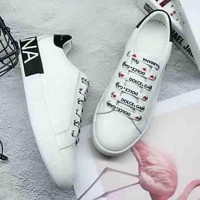Dolce & Gabbana new fashion single letters lace up shoes White