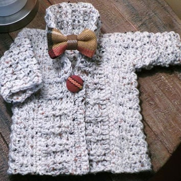 Shawl collar sweater in oatmeal fleck, plaid button & matching plaid bowtie or hat headband bow; size 6 months; unisex; alt sizes available