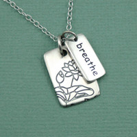 Silver Breathe Necklace - sterling silver yoga jewelry - breathe pendant charm necklace - zen gift
