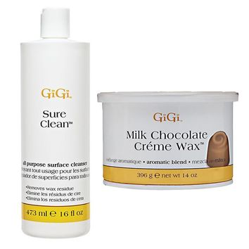 GiGi Sure Clean All Purpose Surface Cleanser 16 oz + Milk Chocolate Creme Wax 14 oz
