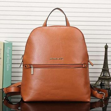 MK Women Casual Shoulder School Bag Cowhide Leather Backpack