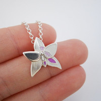 Orchid Necklace Pendant - Phalaenopsis bellina - MADE TO ORDER - Modern design, Recycled Fine Silver, Sterling Silver