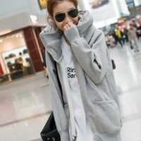 Gray Fleeces Loose Guard Sweatshirt - Designer Shoes|Bqueenshoes.com