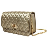 Deluxity Rubber Quilted Gold Chain Crossbody Shoulder Bag