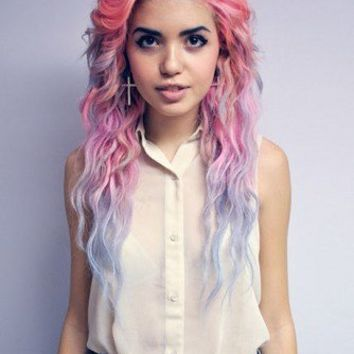 Ombre Hair, Lavender Pink and Blue Pastel Hair Extensions//Human Hair