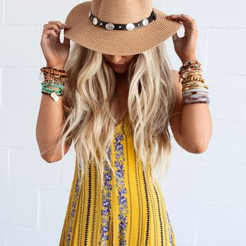 Indio Concho Trim Straw Panama Hat - Tan