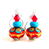 Colorful Lampwork Earrings, Red Aqua Drop Dangle Earrings, Glass Beaded Earrings, Southwestern, Mothers Day, Bold Fiesta