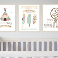 Tribal Indian Nursery Prints Set of 3 / Little Indian Boys Room Neutral Baby Boys Room Prints Personalised by Mint Imprint 8x10 inches