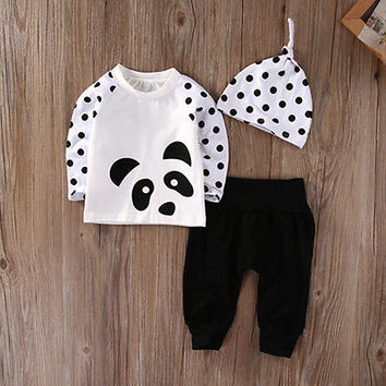 Newborn Baby Boys Girls Clothes Tops T-Shirt Pants Leggings Hat Outfits 3PCS newborn baby suit children clothing