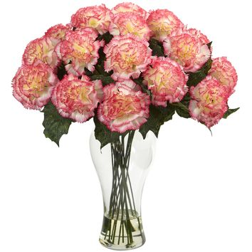 Artificial Flowers -Blooming Carnation Arrangement With Vase No3 Silk Plant