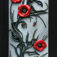 Poppy Wall Decor 3D Picture, Leather Art, Wooden Frame, Hand Painted, Acrylic Paste Relief Background, Papaver, Poppies Flower Decor