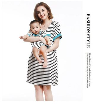 PEAPUNT Mommy And I Clothes Mother Nursing Dress and Baby Romper Cotton Striped Dress and Romper Family Matching Outfits Free Sgipping