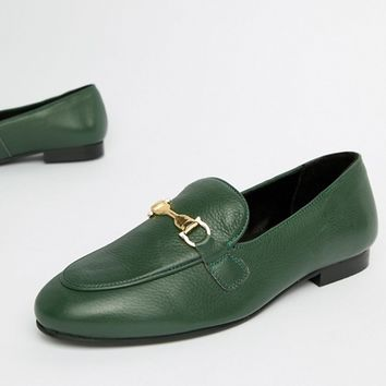 River Island leather loafers in green at asos.com