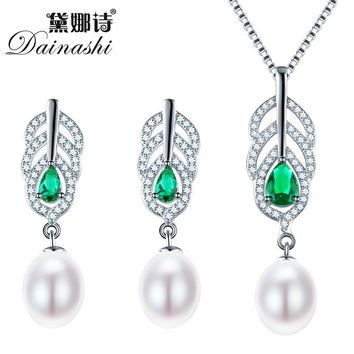 Dainashi Pearl Jewelry Sets 925 Silver Freshwater Pearl Pendant Necklace With Studs Earrings Whole Set Fine Jewelry Four Color