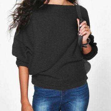 Black  Loose Bat Sleeve Knit Sweater