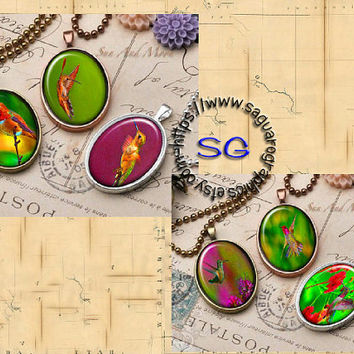 Bright Colorful Hummingbirds Draws & Glow Art - - Digital Collage Sheets - 30x40mm Ovals for Jewelry Makers, Wedding Projects, Crafts