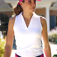 JoFit Ladies & Plus Size Cutaway Tech Sleeveless Golf/Tennis Shirts - Cosmopolitan & Martini(White)
